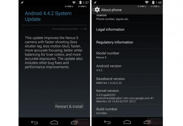 Android 4.4.2 Update, aggiornamento Nexus 4 e 5.