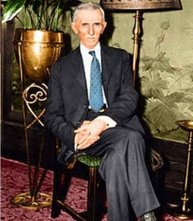 Tesla in un raro scatto a colori del '35
