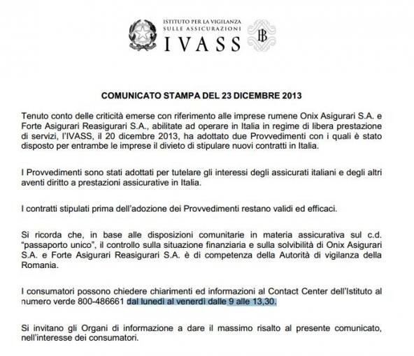 L'Ivass boccia due compagnie assicurative rumene