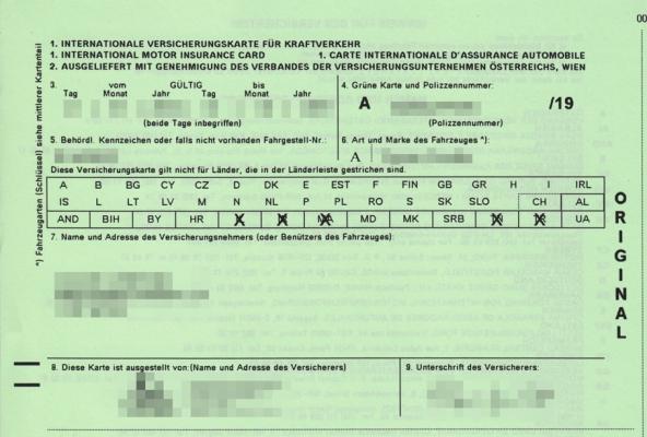 Assicurazione auto all'estero: la carta verde